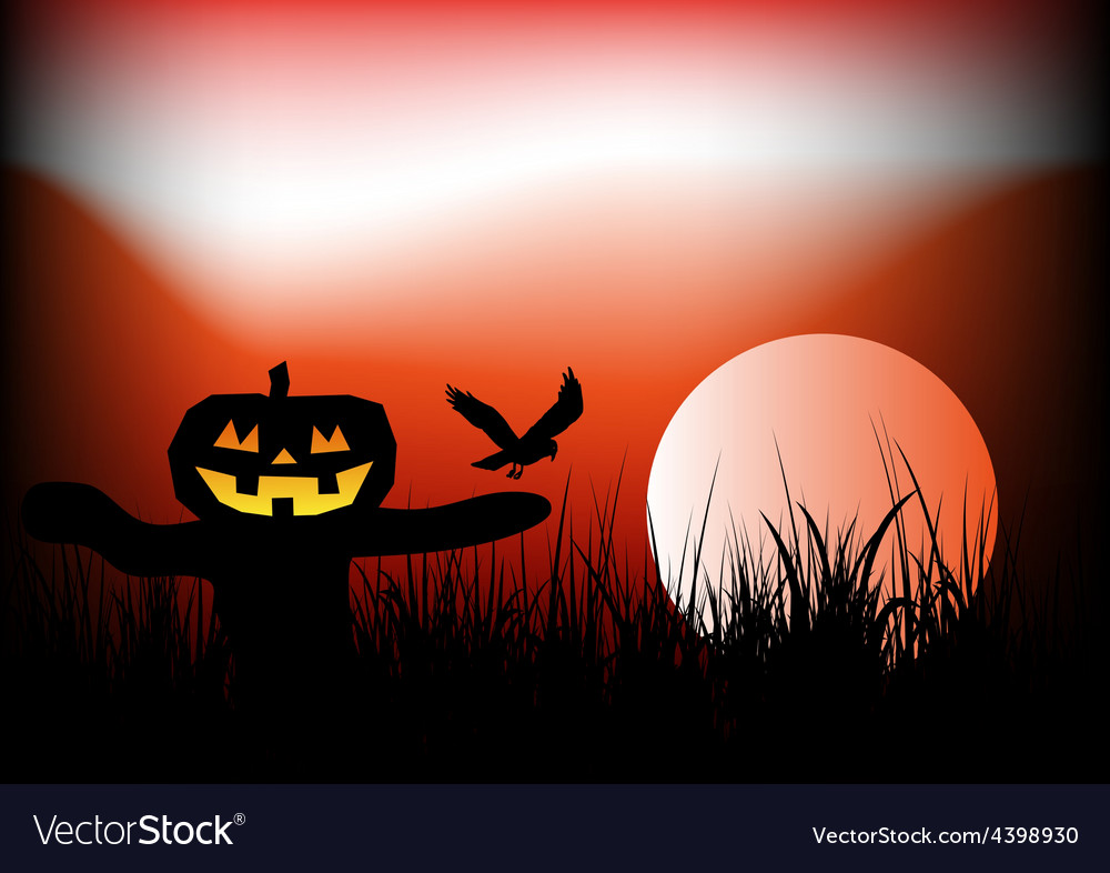 Halloween scarecrow background vector