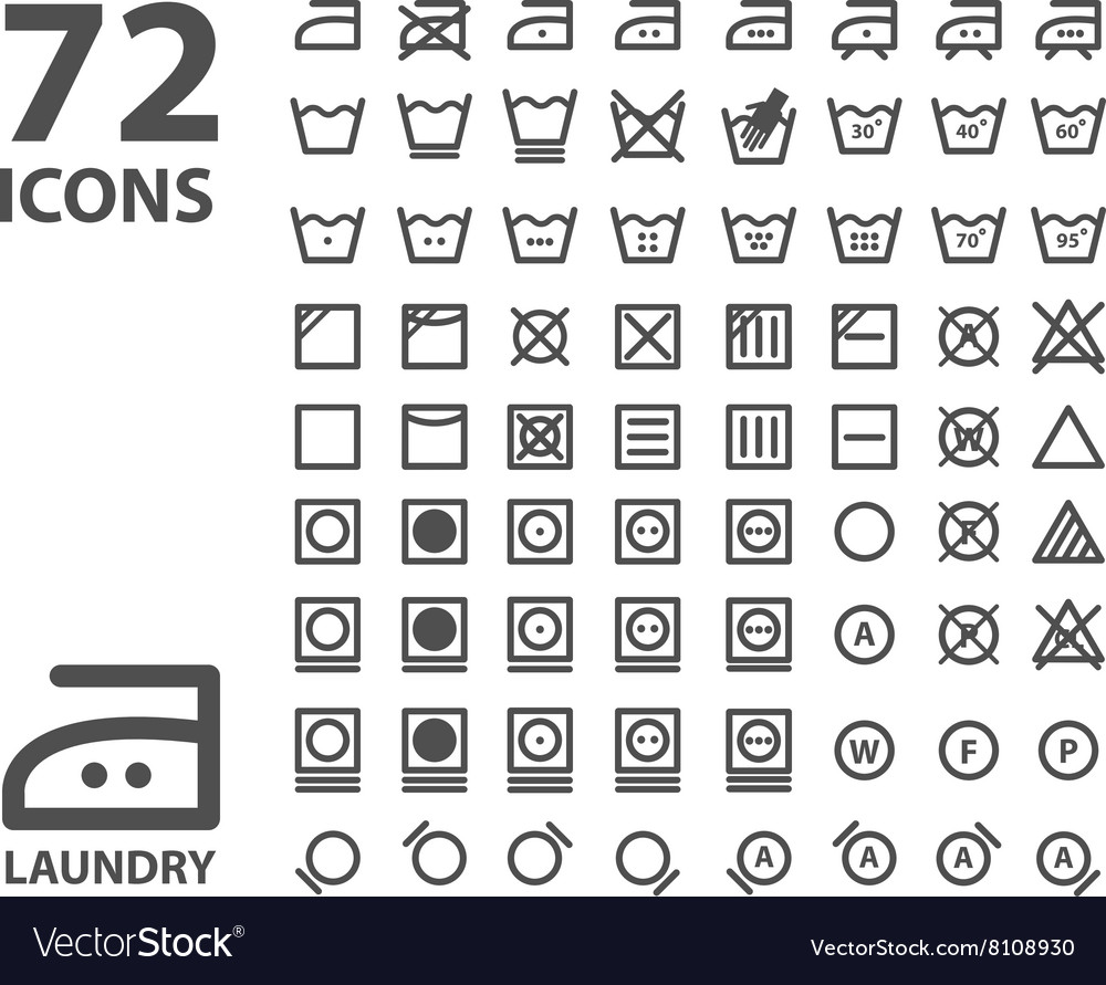 Laundry and washing icon set isolated on white vector