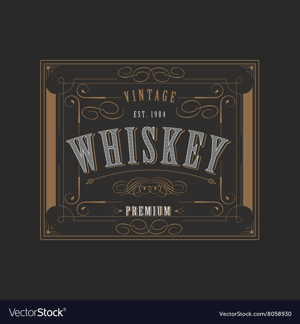 Western design template for whiskey label vector