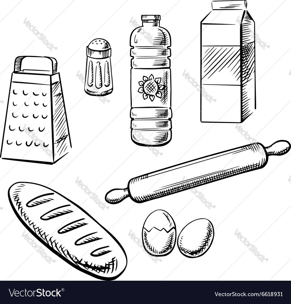 Bakery ingredients and utensil icons vector