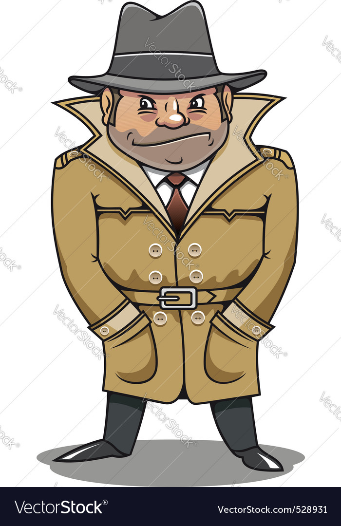 Detective agent or spy man for security or police vector