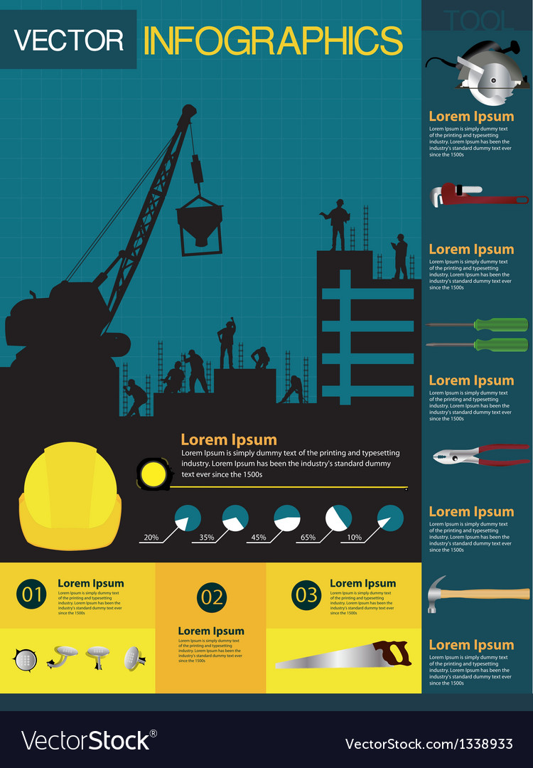 Construction infographics containing vector