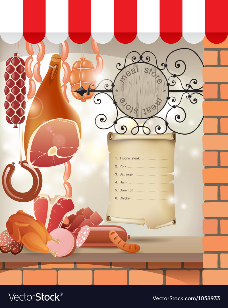 Meat store vector