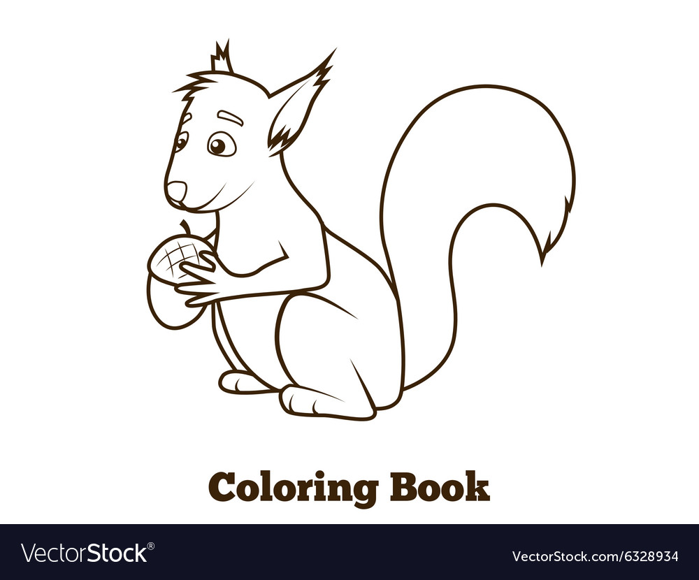 Forest squirrel cartoon coloring book vector
