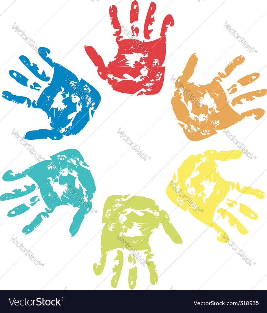 Set of colorful hand vector