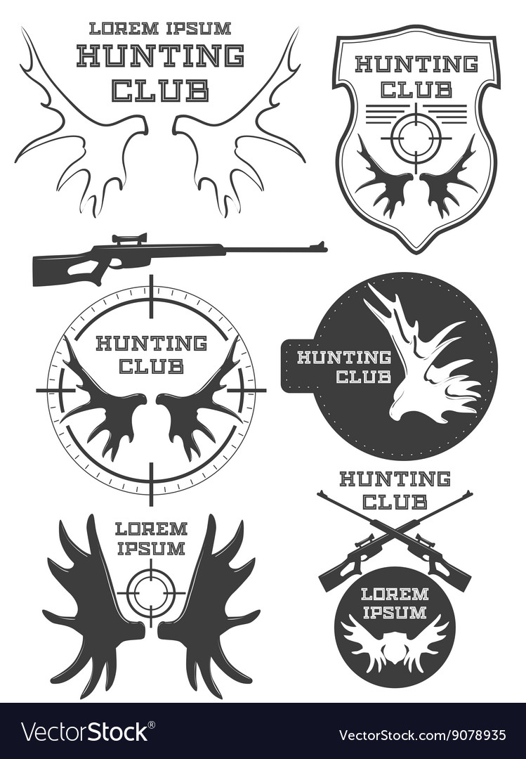 Set of vintage hunting logo labels and badges vector