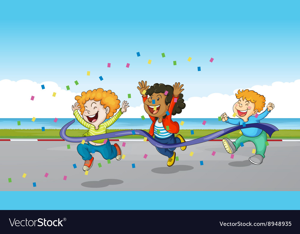Three boys running through finish line vector