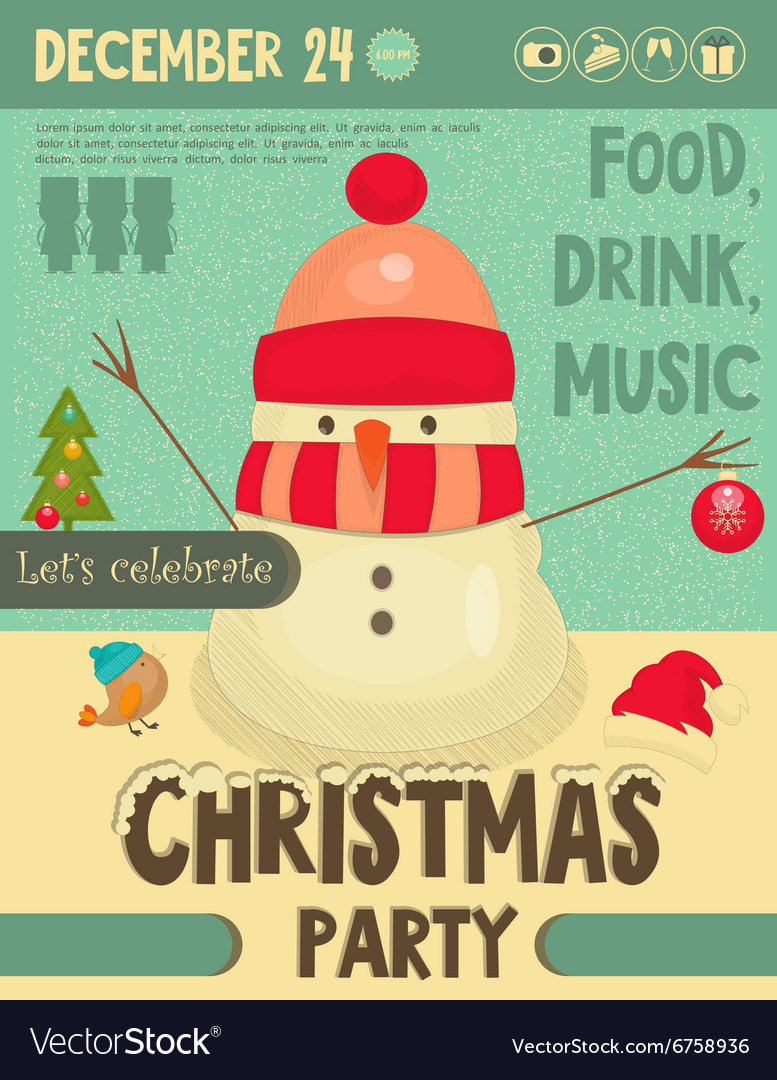 Invitation to christmas party vector