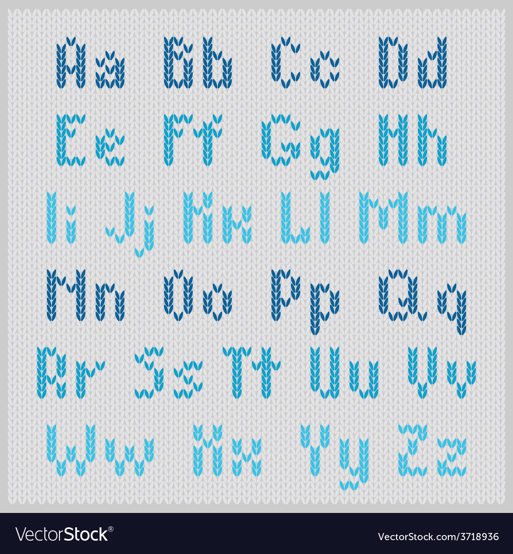 Knitted alphabet blue small sans serif vector