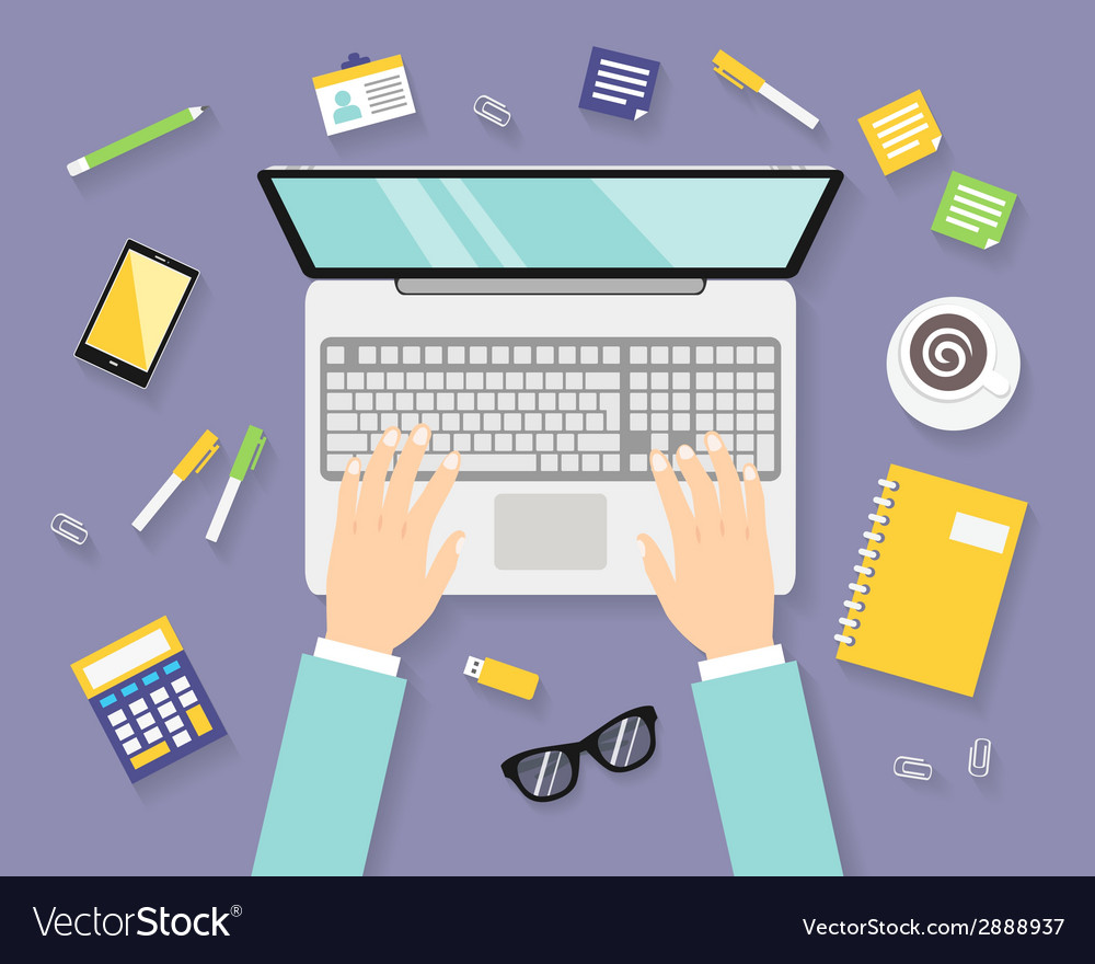 Business workplace with notebook vector