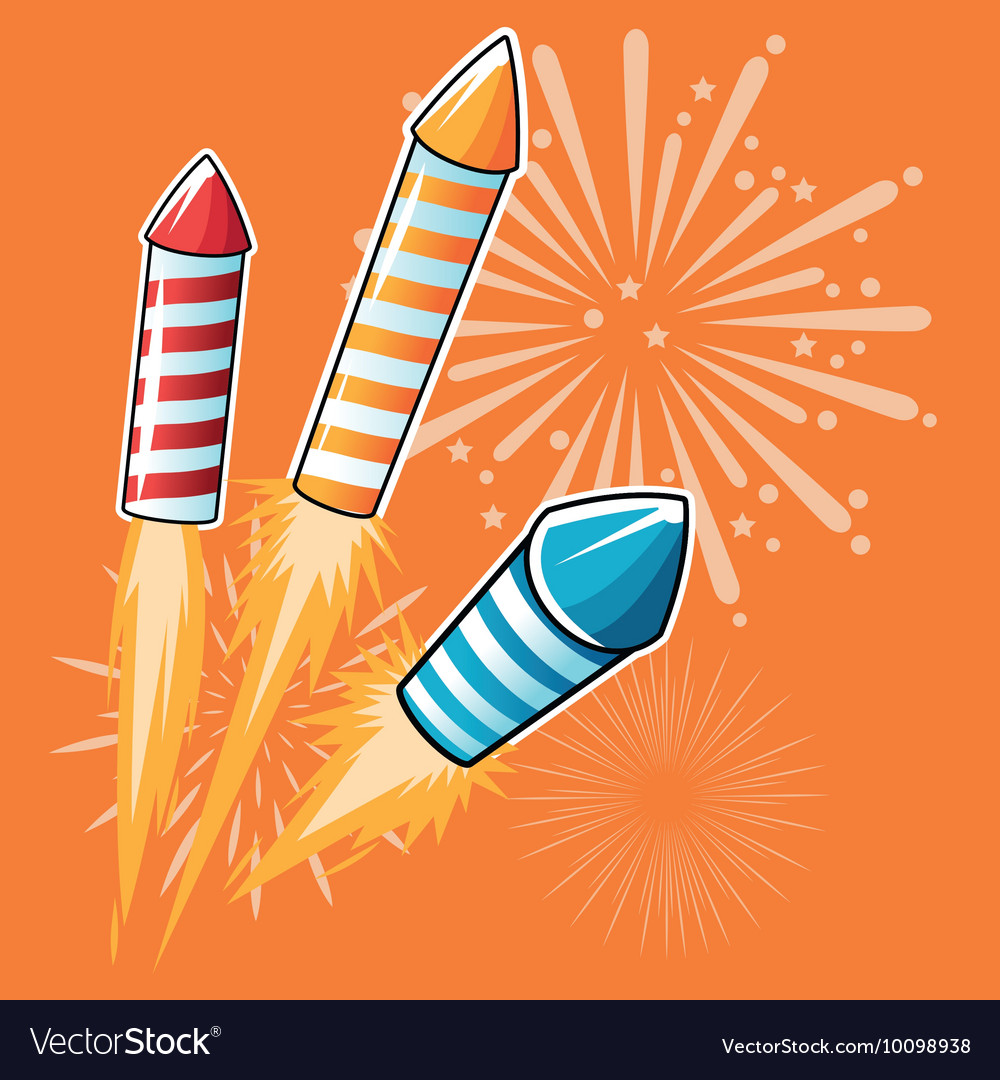 Firework celebration explosion night icon vector
