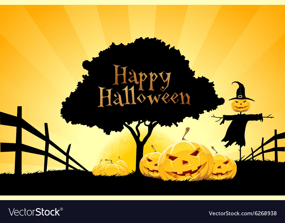 Halloween background with pumpkin and scarecrow vector