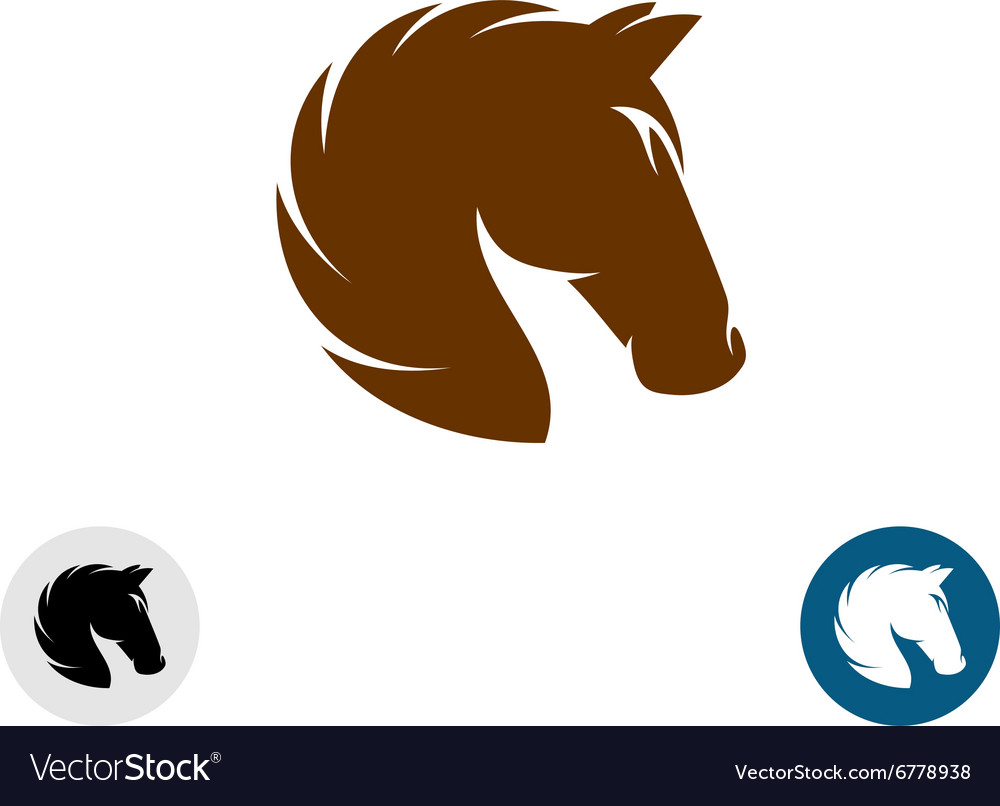 Horse head logo simple elegant one color vector