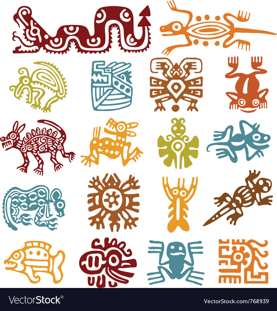 Set  mexican symbols vector