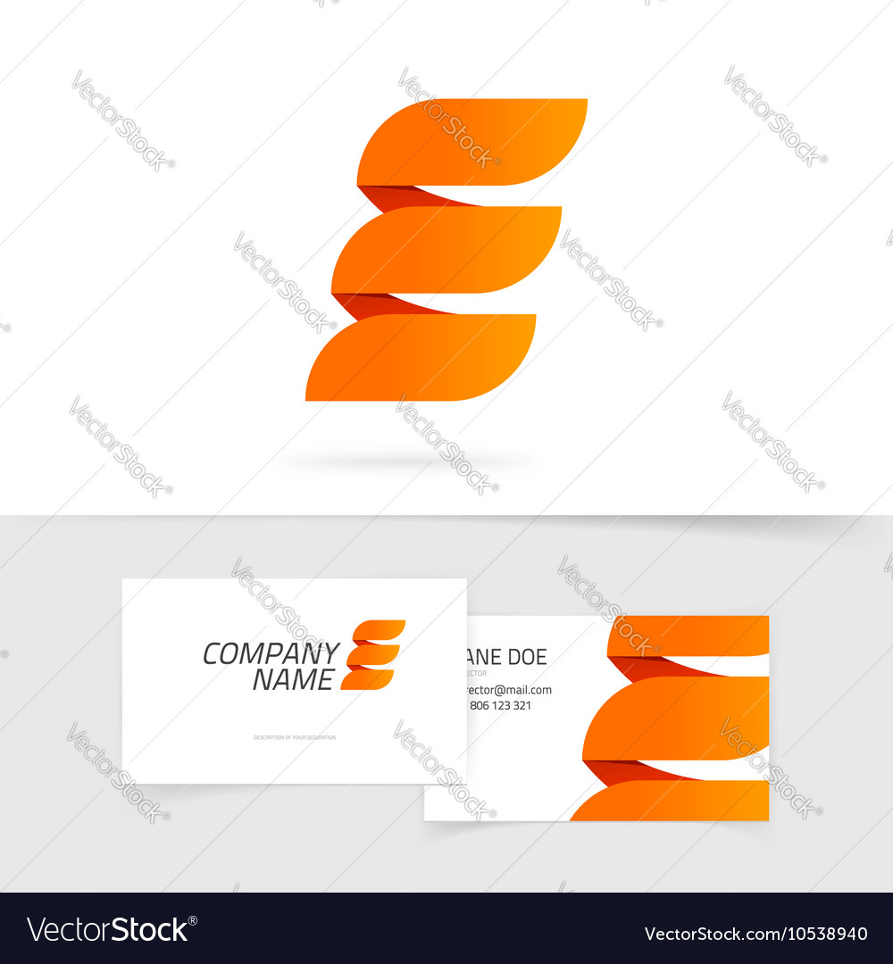 Abstract elegant orange letter e logo isolated on vector