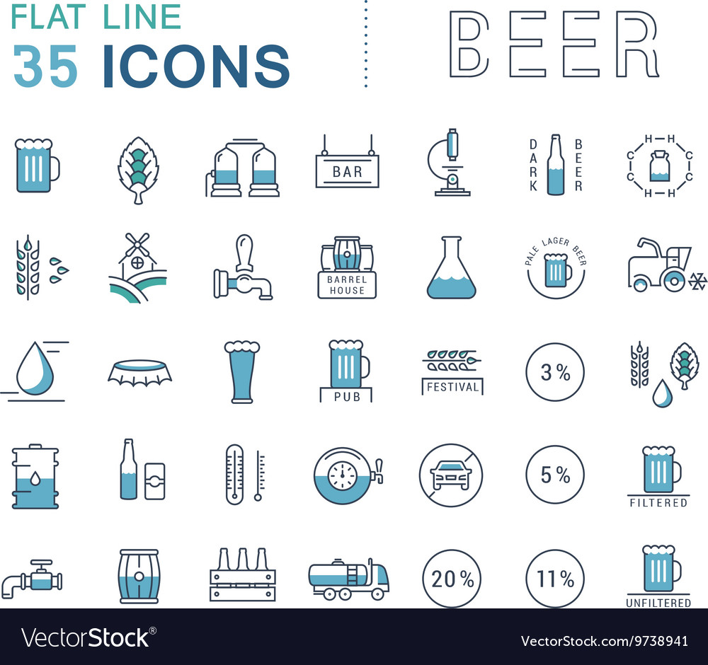Set line icons beer vector