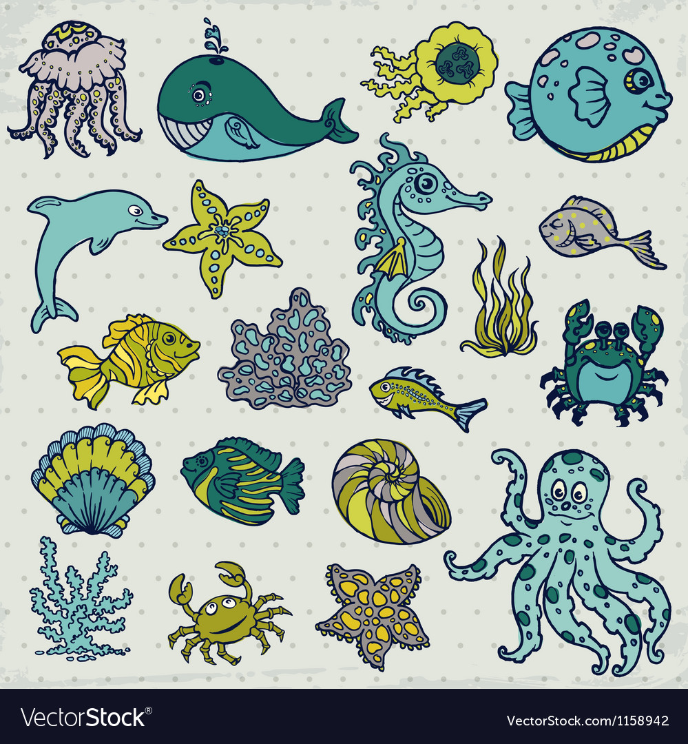 Summer sea life creatures vector