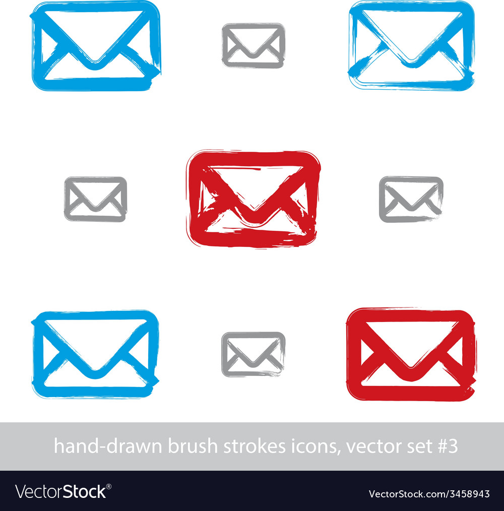 Collection of handdrawn simple mail icons set of vector