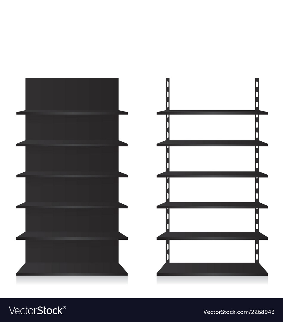 Empty shop shelves black vector