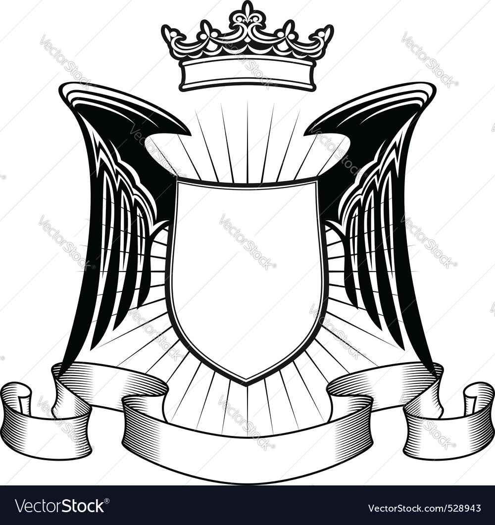 Heraldry shield with angel wings and ribbons for m vector