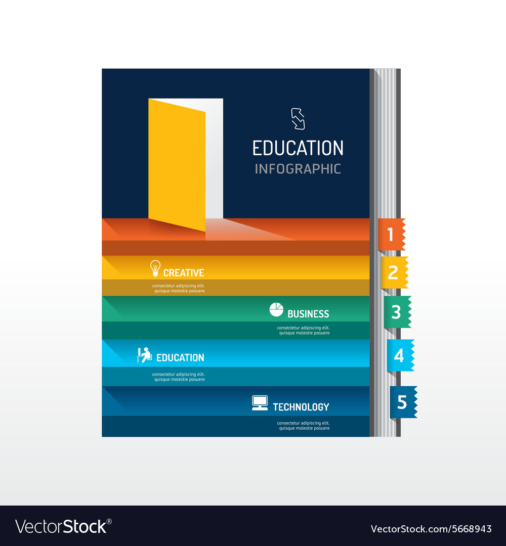 Infographic step on book shape idea success vector