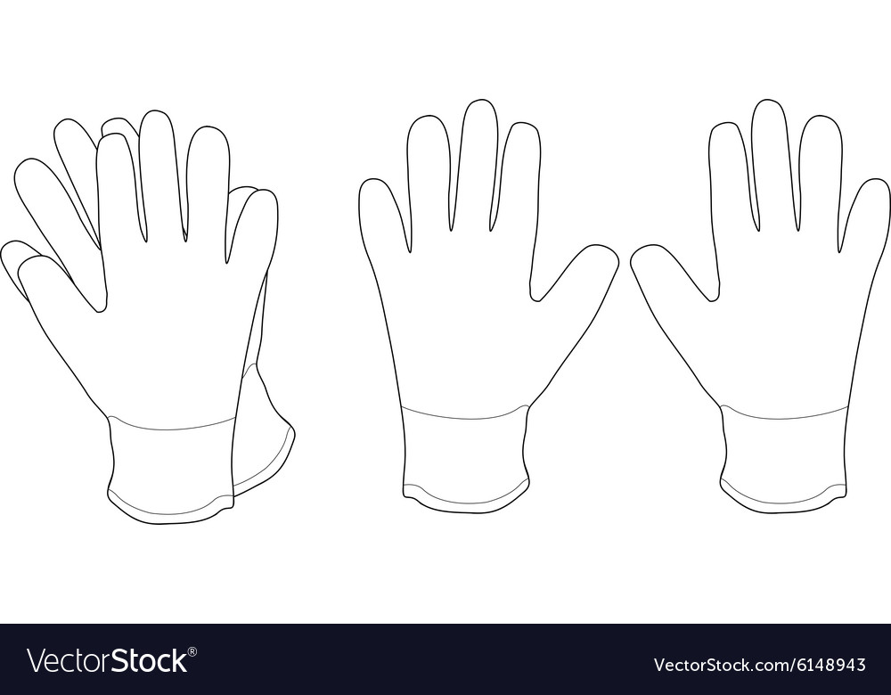 Pair of white working gloves contour vector