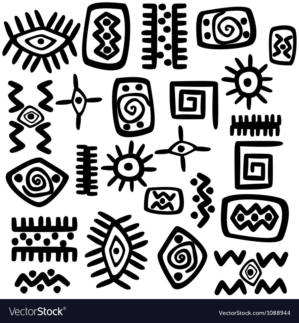 Background with african motifs over white vector