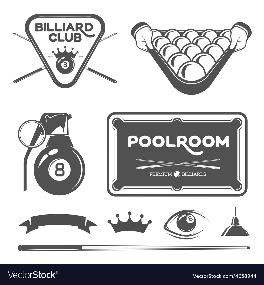 Poolroom set vector