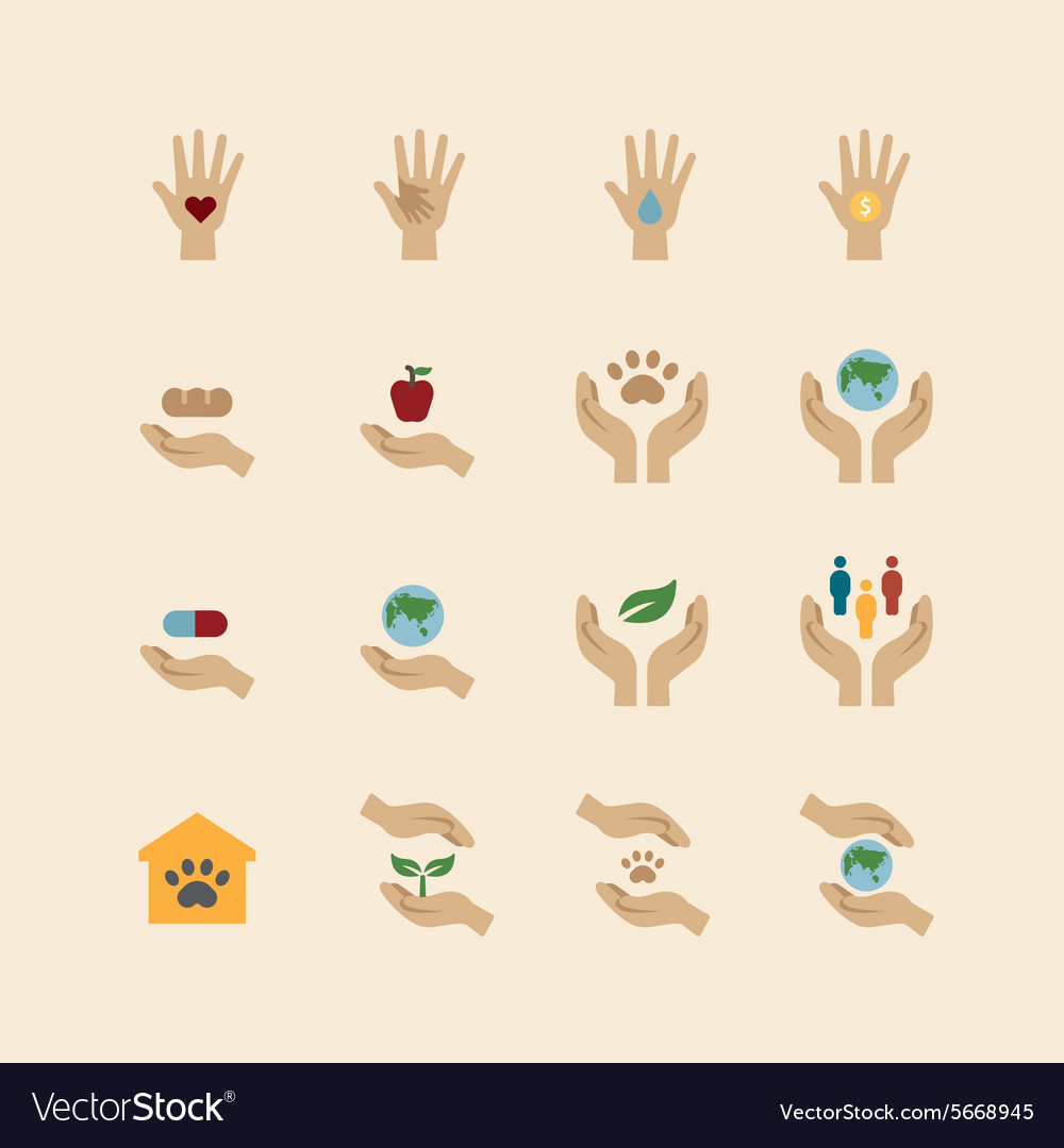 Charity and donation icons flat line design vector