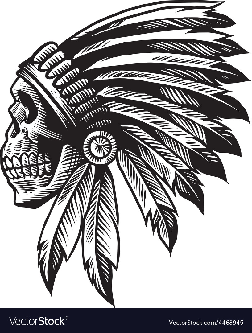 Skull indian chief in hand drawing style vector