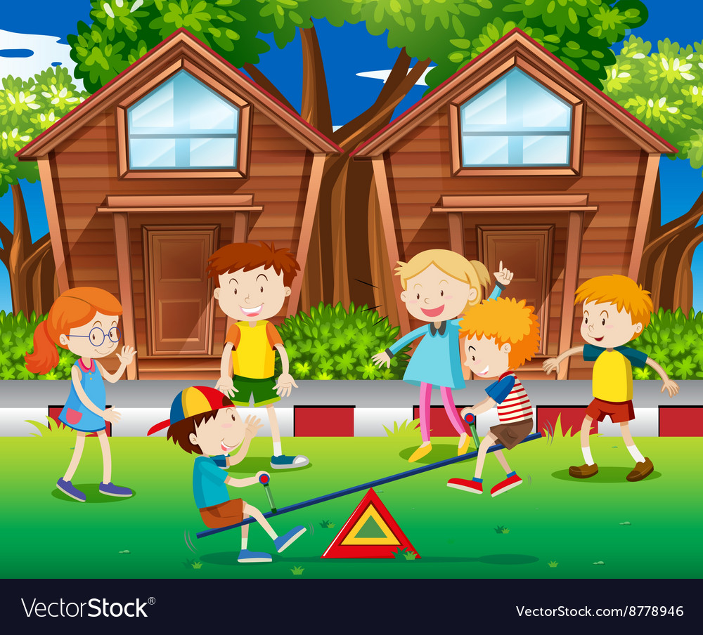 Children playing seesaw in the park vector