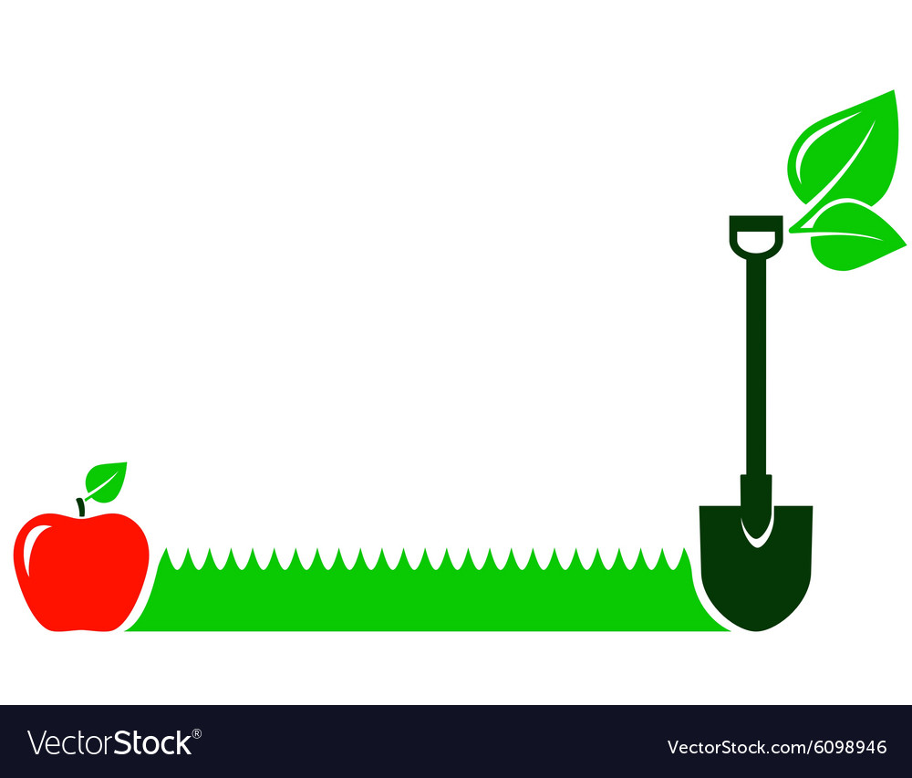 Garden background with grass fruit leaf shovel vector