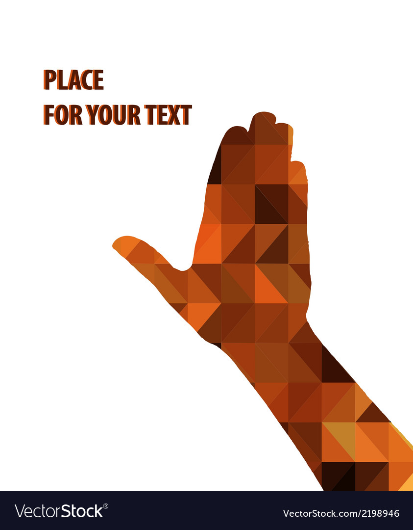 Silhouette of a mens hand on brown triangles vector