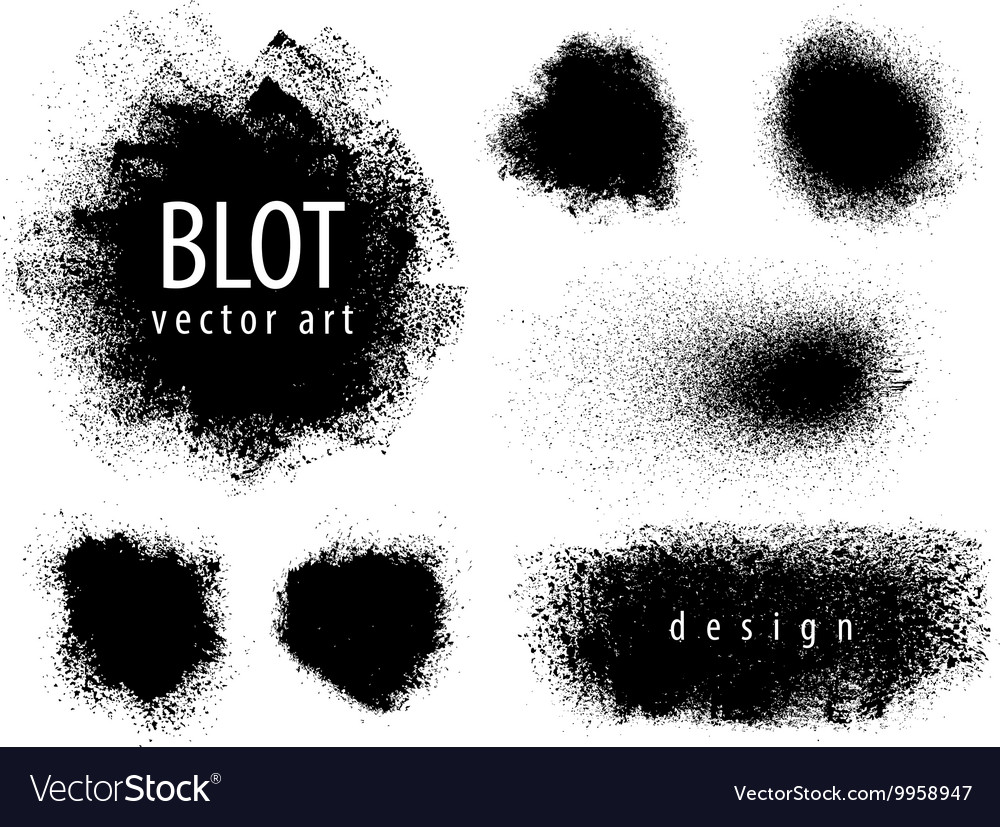 Set of blots paint sprayer stained vector