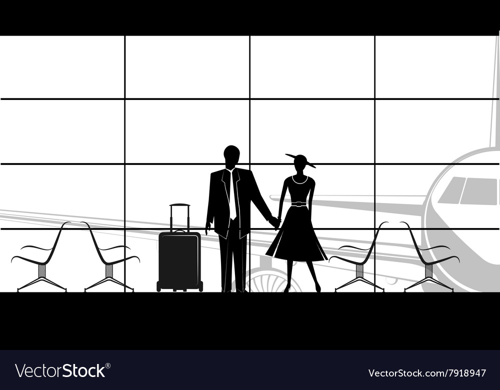 Waiting area sign with row of empty chairs vector
