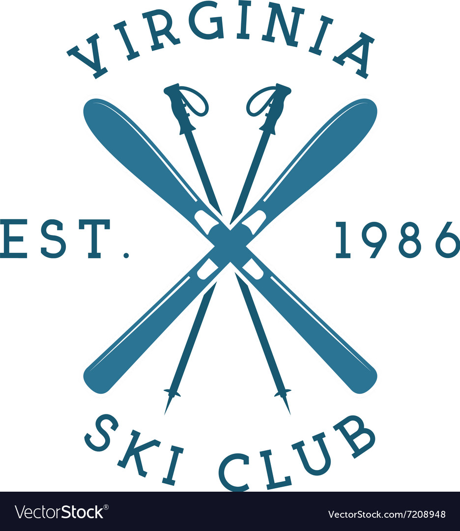 Winter sports ski club label vintage mountain vector