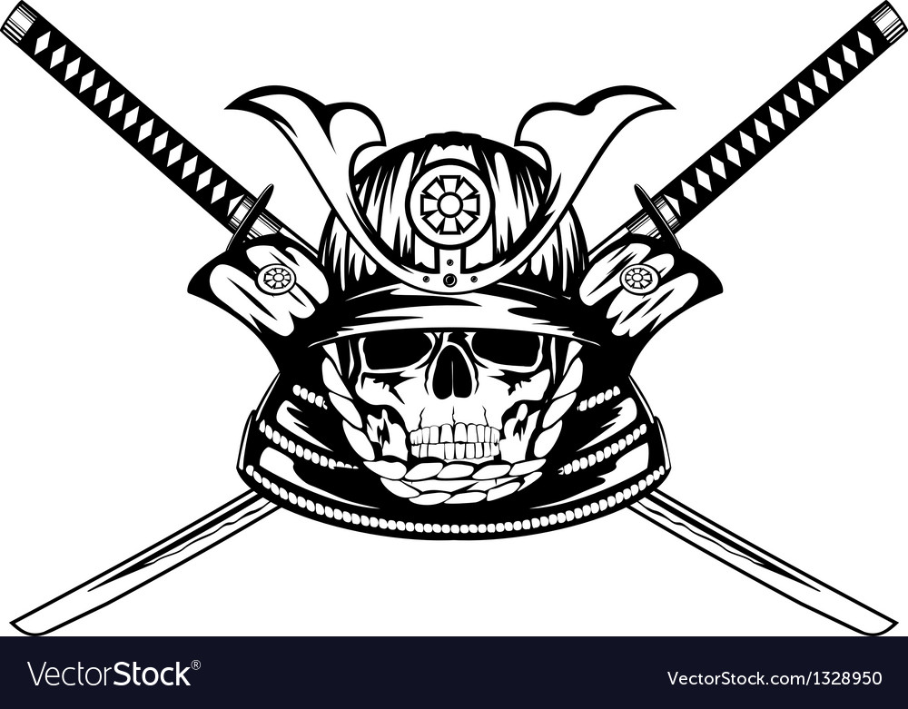 Skull in samurai helmet and crossed katanas vector
