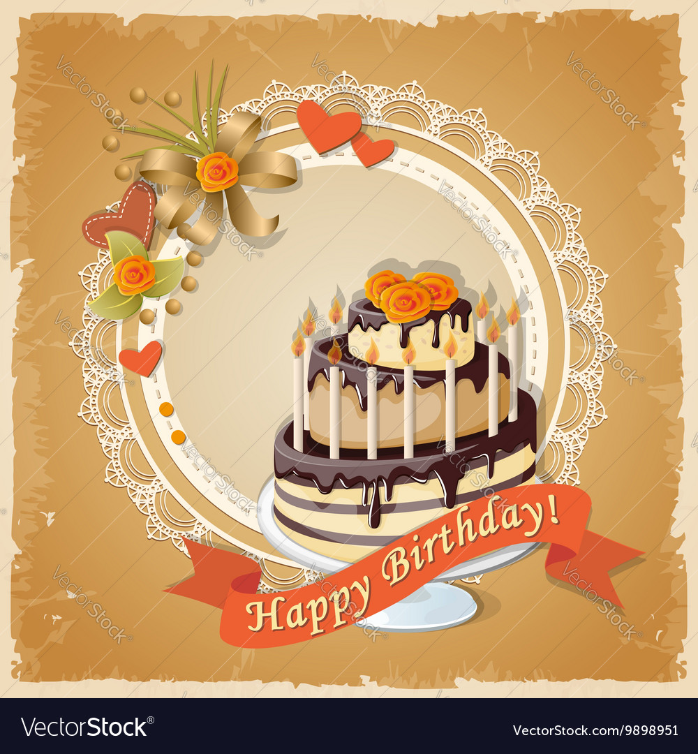 Scrapbooking birthday card with cake tier and text vector