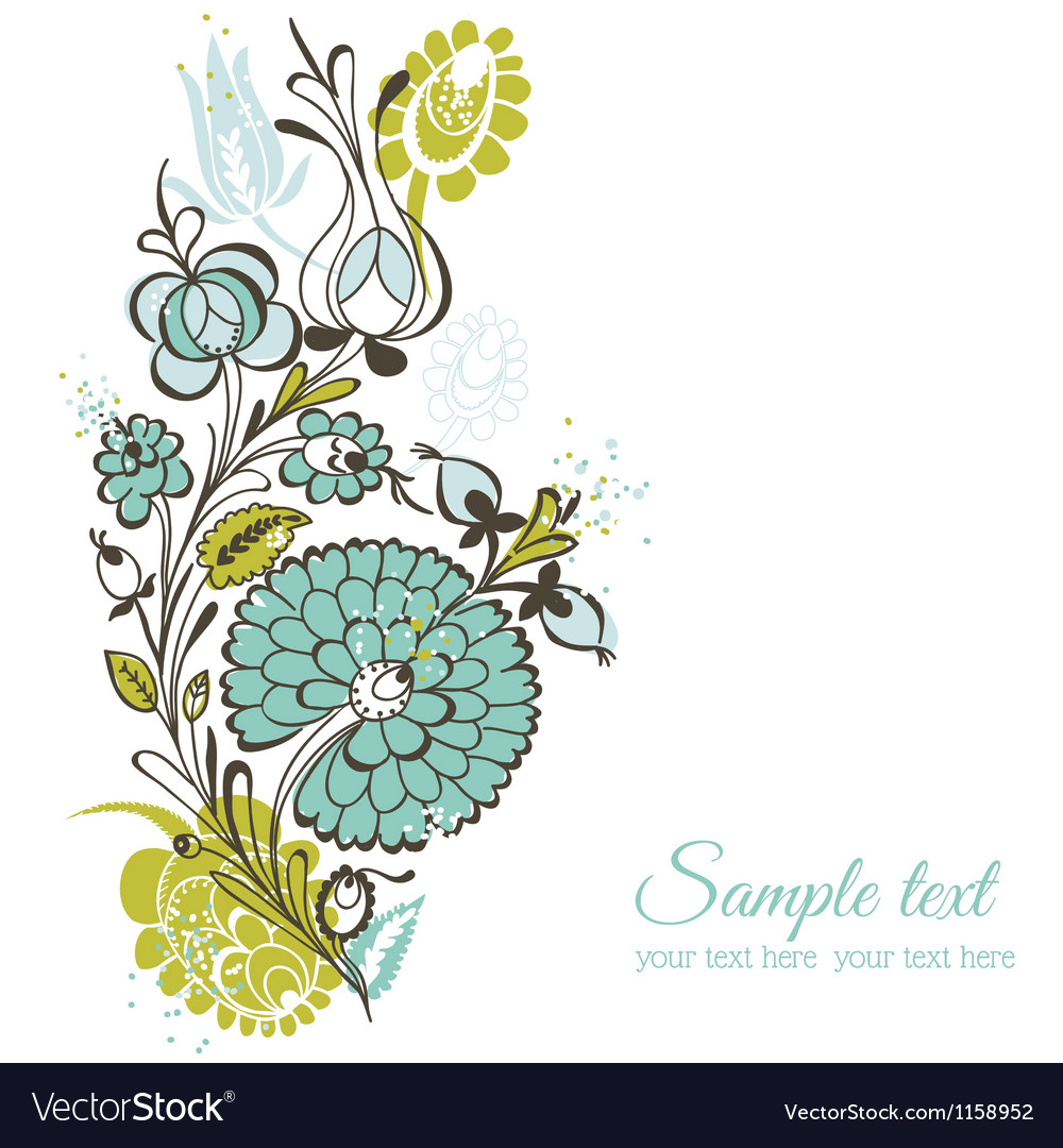 Beautiful floral background  retro flowers vector
