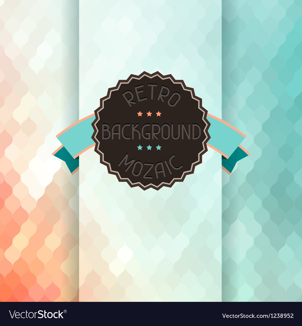Mosaic background with ribbon and badge in retro vector