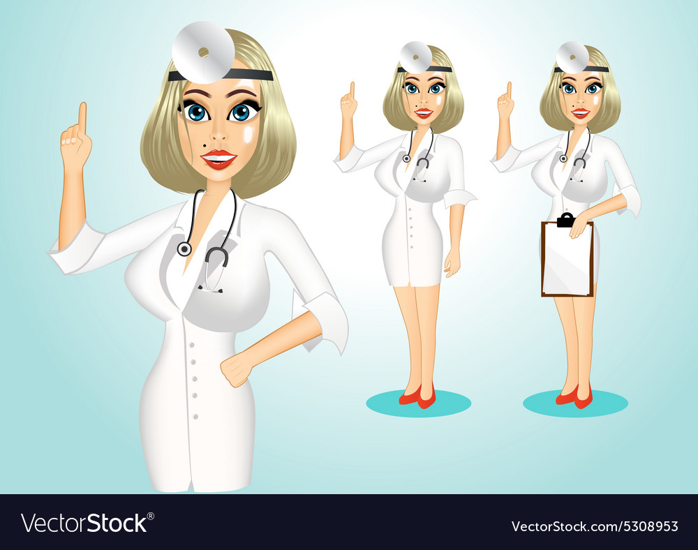Beautiful realistic doctor giving a thumbs up vector