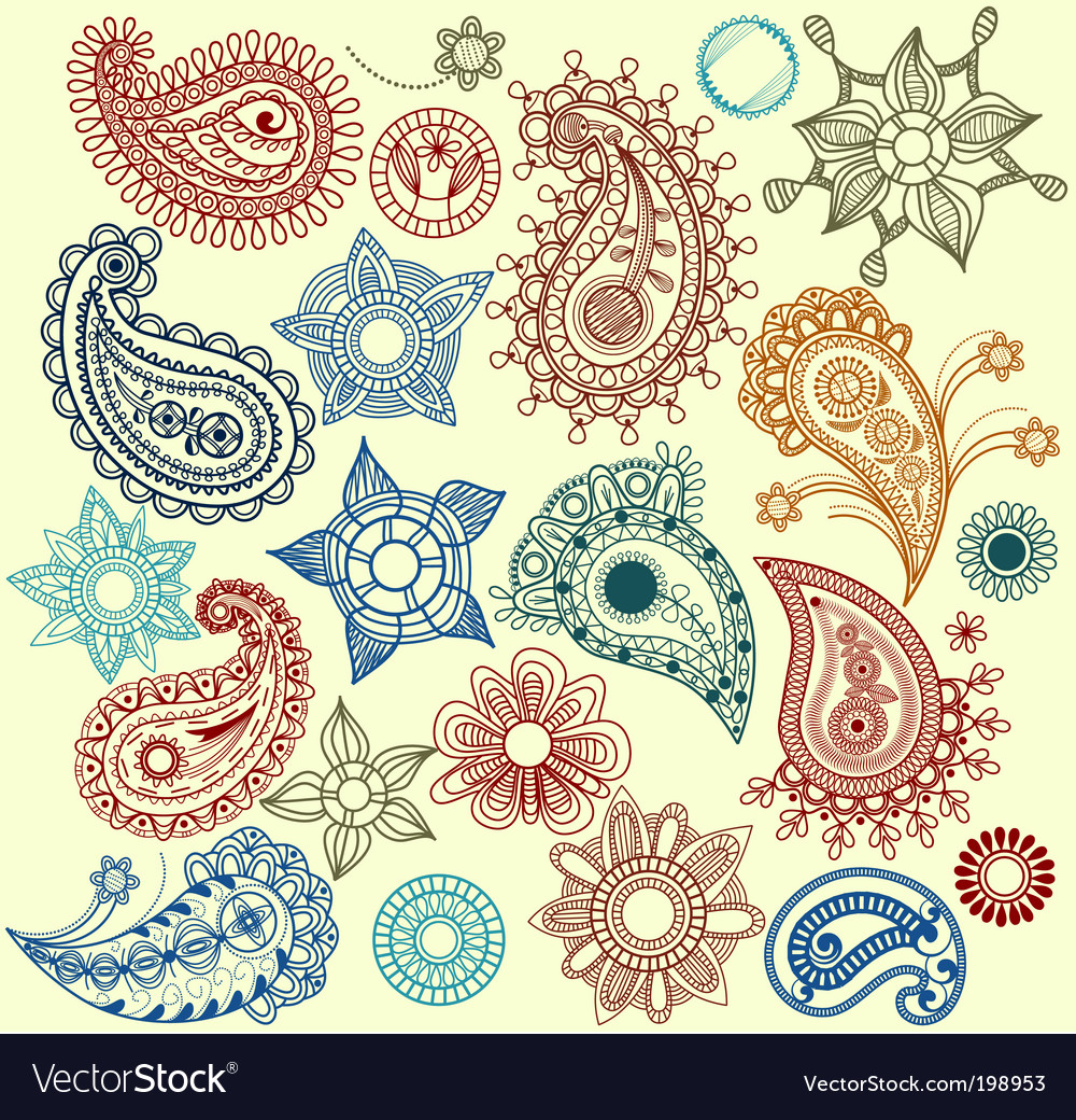 Paisley and flowers set vector