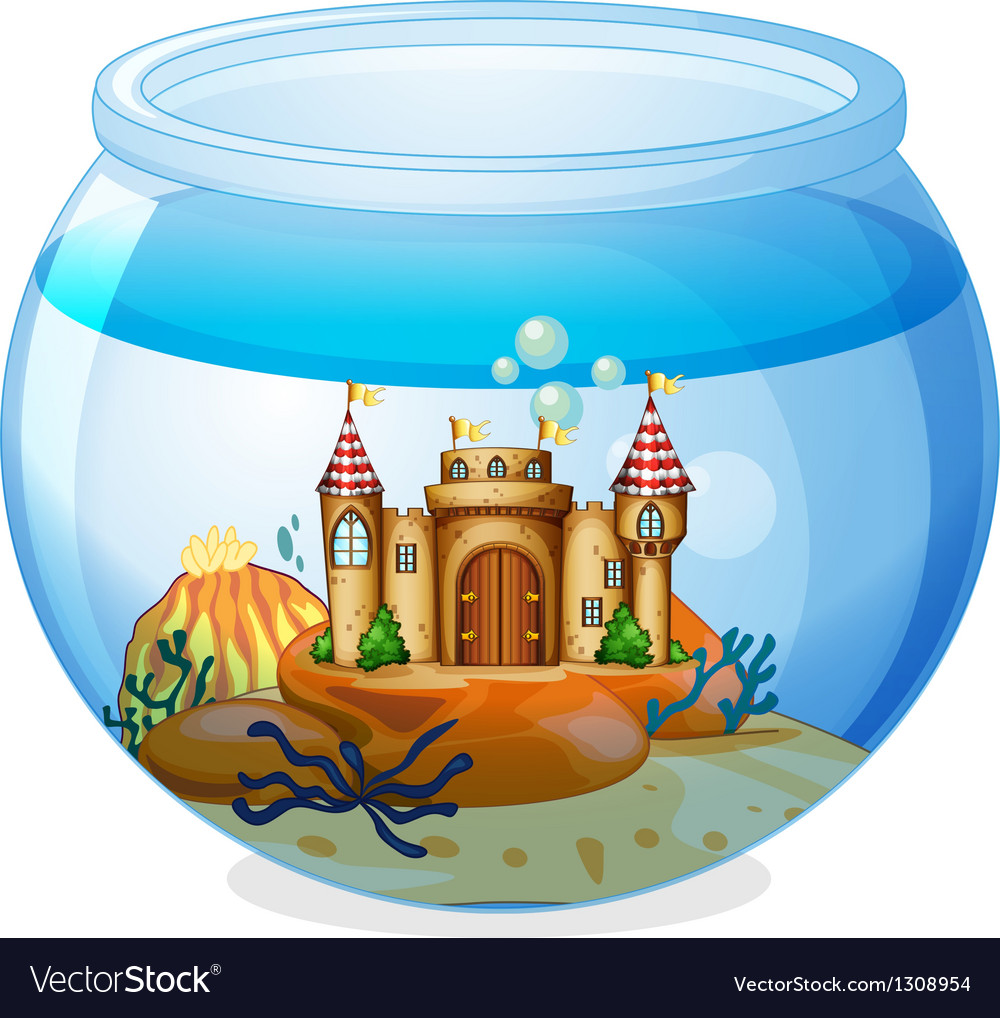 A castle inside the aquarium vector