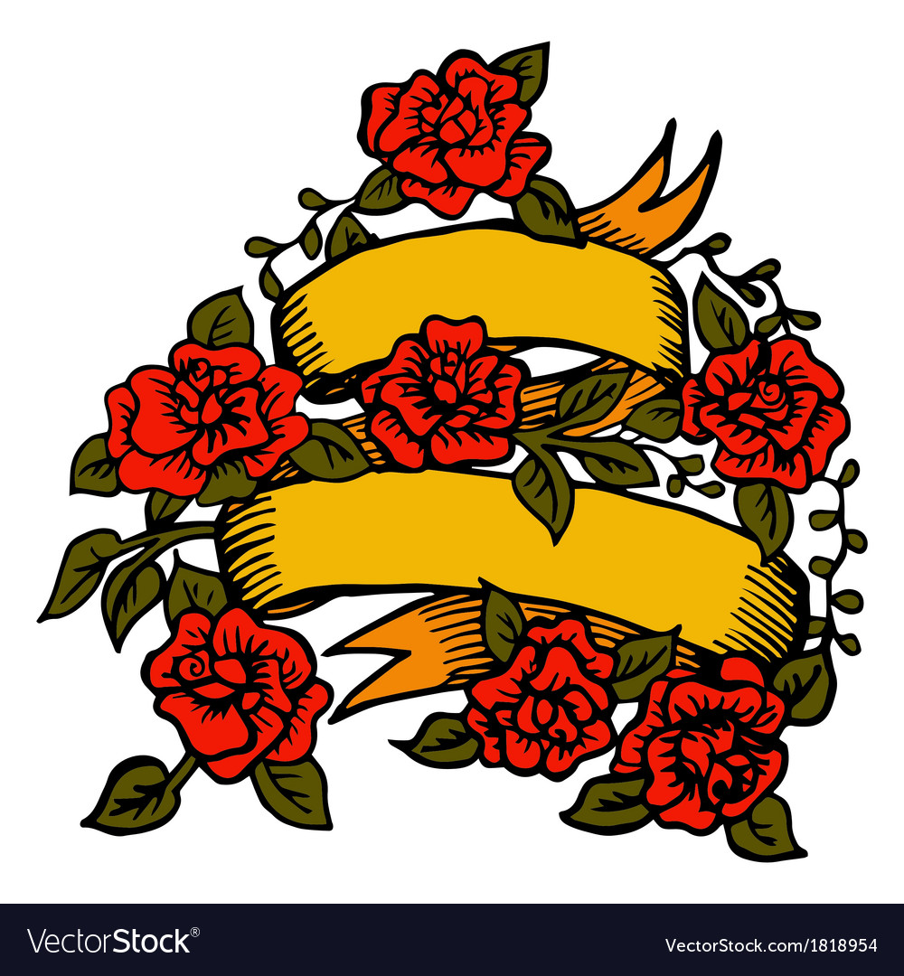 Classic tattoo ribbon with roses vector