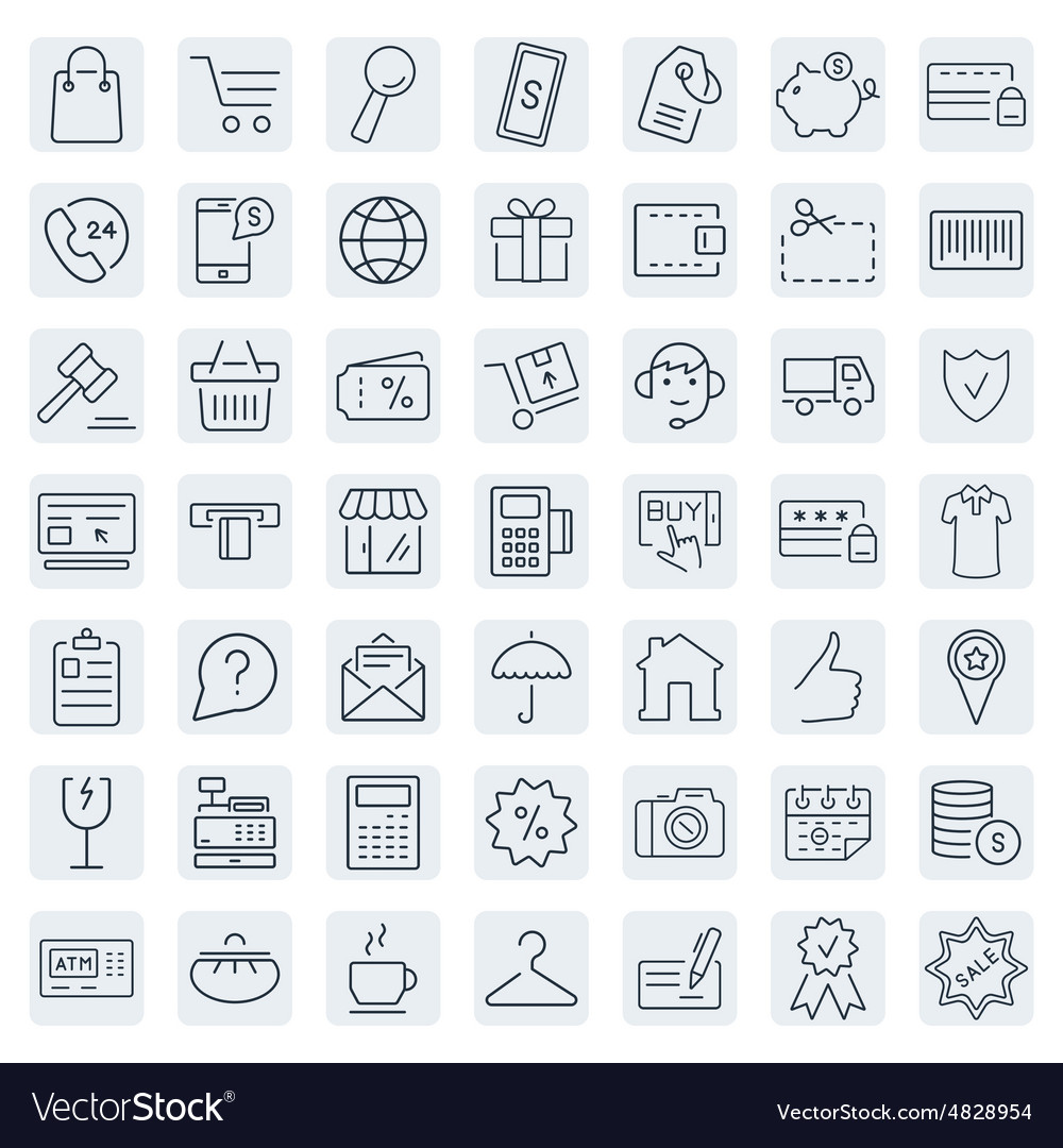 Ecommerce outline web icons set vector