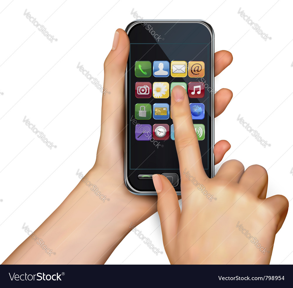 Touchscreen smart phone vector