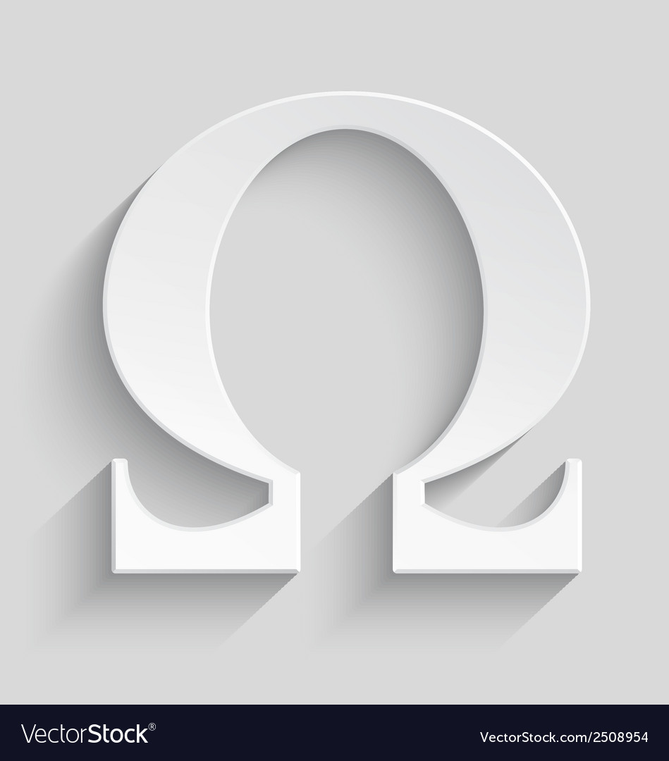 White omega letter with realistic shadow on gray vector