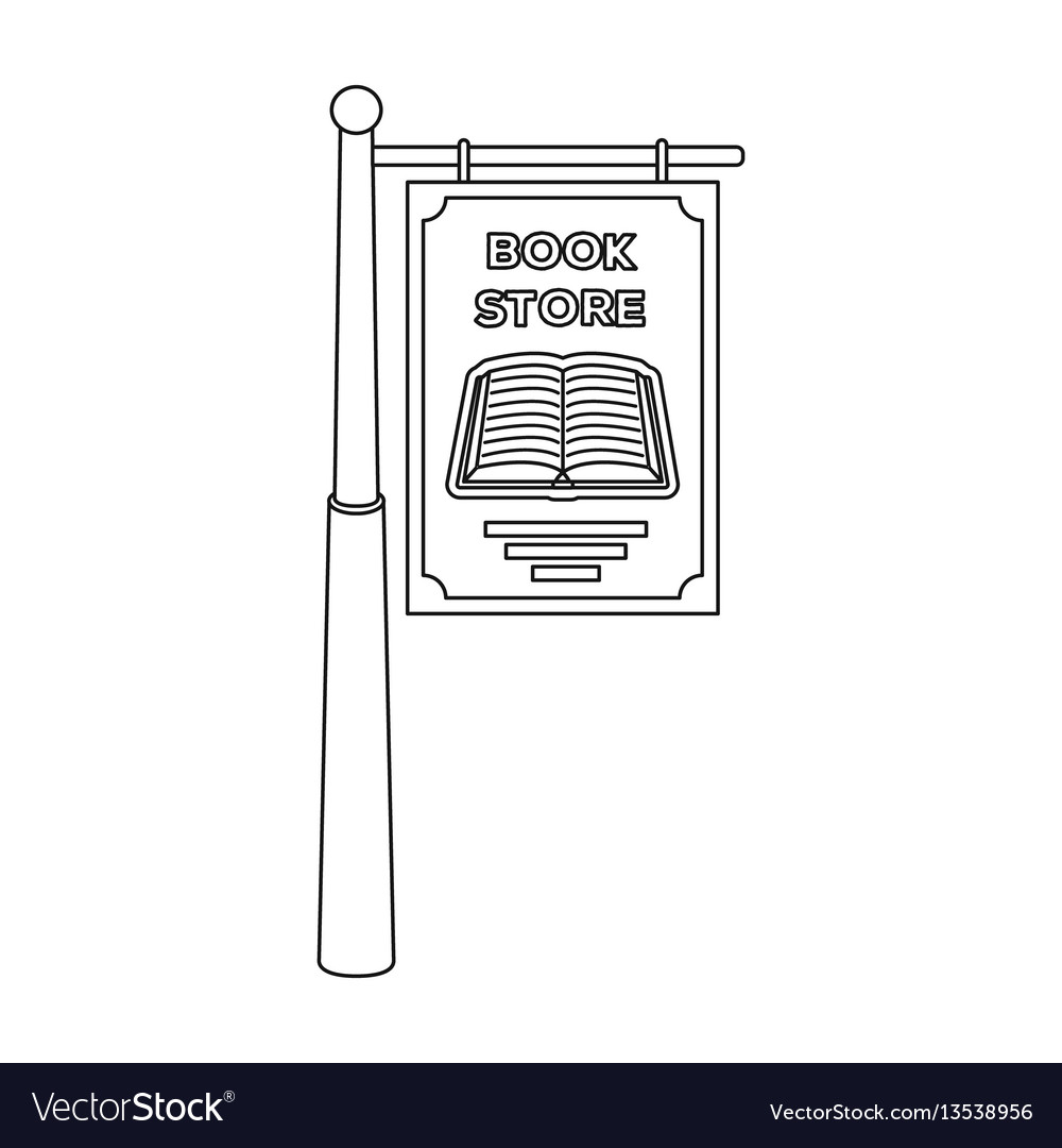 Bookstore signage icon in outline style isolated vector