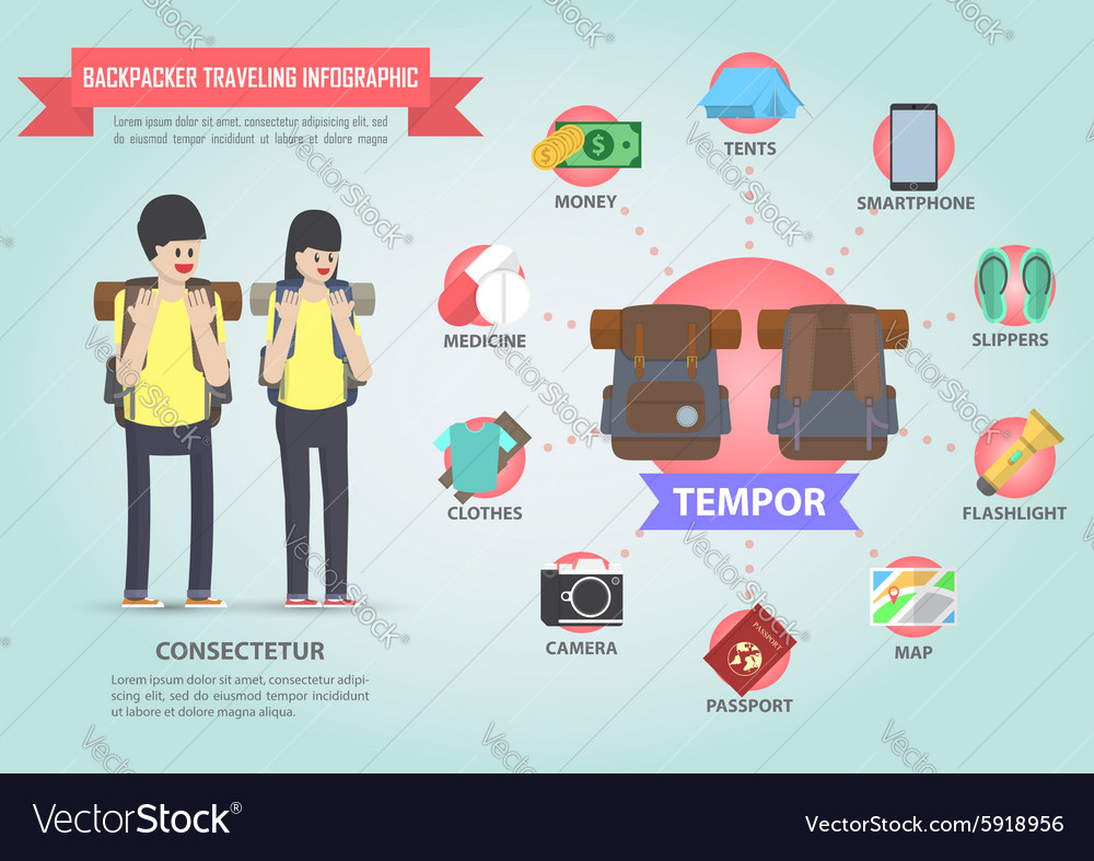 Travel infographic design with backpacker icon set vector