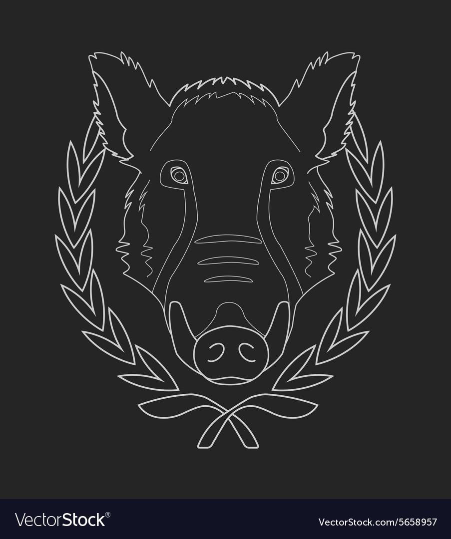 Boar head chalk contour vector